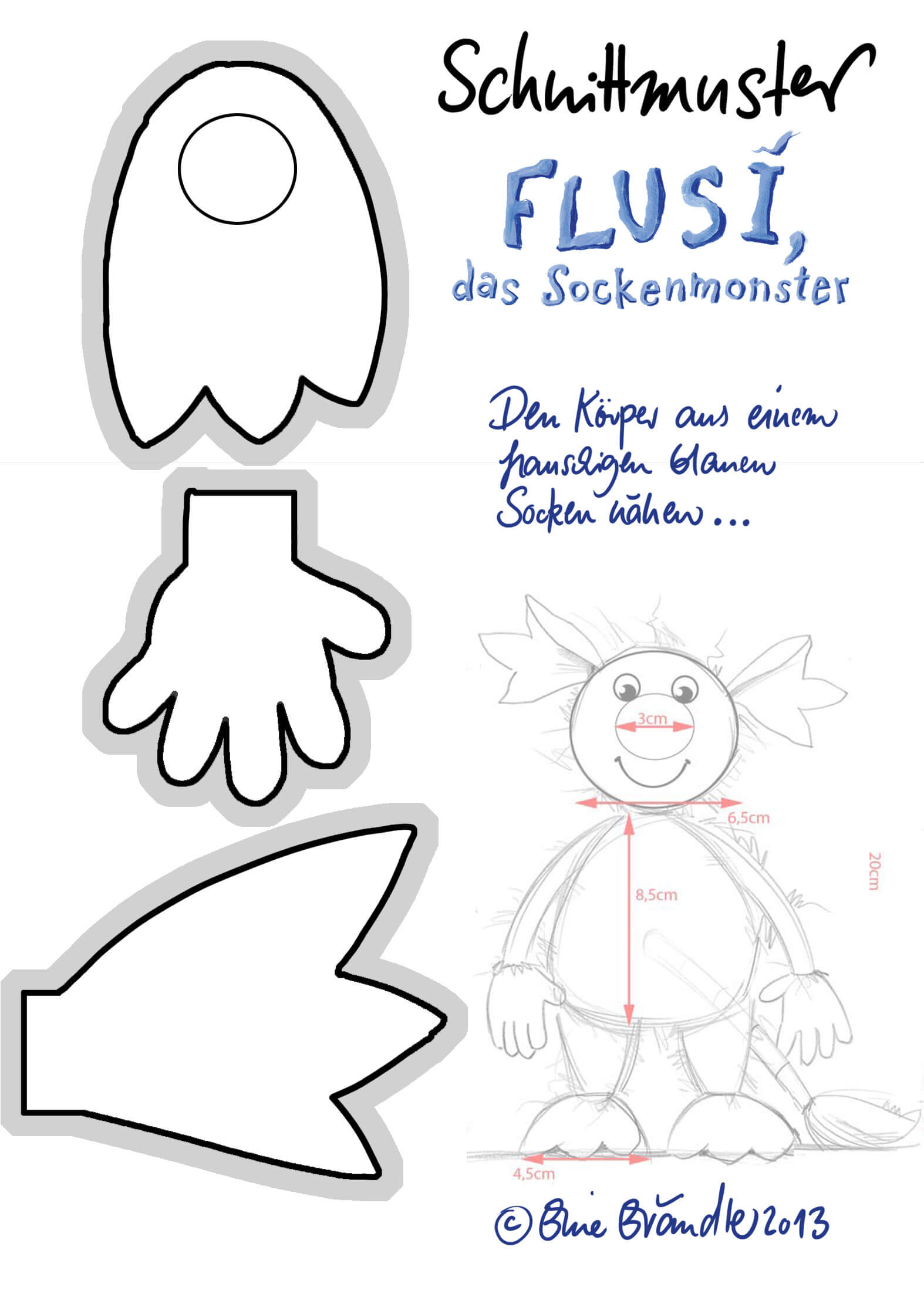 Schnittmuster Flusi Hand Fuß Ohr - Schnittmuster